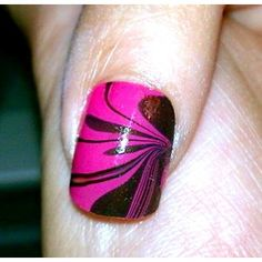 This is water marble nail art. get a small container of water, toothpicks, tape, and two or more nail colors. Cover your finger with tape (except the nail) and drop about 5 drops of the colors, alternating between each one. with a toothpick, go from the outside of the circle to the middle. stick your finger in, and keep it in until you gather all the outside nail polish out. Take it out, and voila!