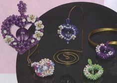 Beaded Heart with flower pendant / key-chain pattern