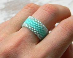 Wide blue ring Seed bead ring Blue beaded ring by HappyBeadwork Seed Bead Jewelry, Seed Bead Earrings, Beaded Jewelry, Loom Bracelet Patterns, Bead Loom Bracelets, Peyote Patterns, Bead Patterns, How To Make Rings, Diy