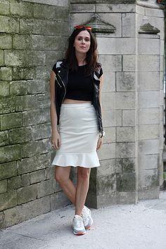 Crop Top, Peplum Skirt, Nikes