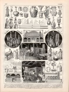 1897 Glassmaking Antique Print Vintage Lithograph by Craftissimo