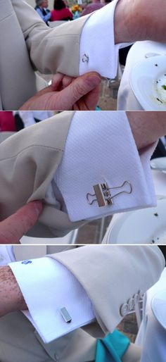 Use mini binder clips as architectural cuff links. | 32 DIY Prom Accessories That Will Make You The Coolest Kid In School