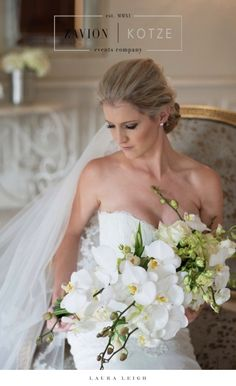 What a beautiful bride! with a stunning white bridal bouquet, orchids, white roses, white orchids, brides dream. white floral arch, flower arch, best floral arch. wedding day, best wedding ever, royal wedding. White Orchids, White Roses, White Flowers, Arch Wedding, Wedding Day, Wedding Dresses, Floral Arch, Event Company, Hair Designs