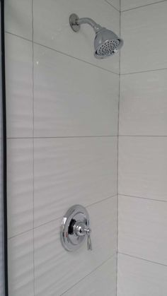 Wavy White Tiles In Shower, Grey Grout
