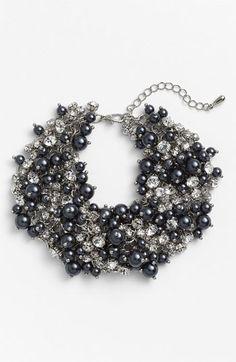 Nina Peony Glass Pearl & Crystal Cluster Bracelet | Nordstrom