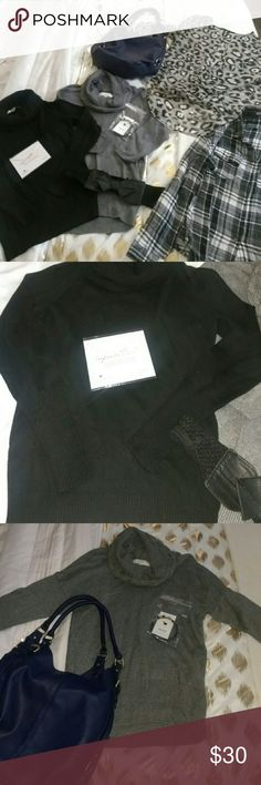 AM to PM Bundle NWOT Great for the up and down weather.    Black (XS) and grey (M) turtleneck LOFT sweaters . Accent with BOW BELT.    Black and white plaid long sleeve by AMBIANCE APPAREL.  (L) Comfortable fabric.  Can wear as 3/4 sleeeves.    Spend a night on the town with SACE leopard in black, white and gray.  Elongated in the back to accent back archer and cut low in front to accent hips.    Accessories are allergy friendly . Color block with MERONA bag .  Shop for all or just for…