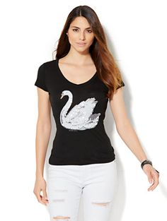 Shop V-Neck Tee - Sequin Swan  . Find your perfect size online at the best price…