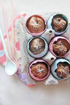Chocolate Mousse Easter Eggs - These Chocolate Mousse Easter Eggs come together in no time and make a pretty Easter dessert – or better yet, a great hostess gift! Here's the recipe to make them.