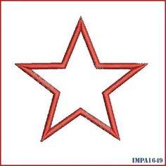 Instant Download Single Star Applique Digitized Embroidery Machine Design Pattern 4x4 5x7 6x10