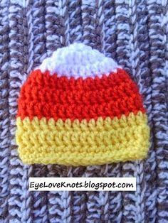 Crochet Preemie Candy Corn Hat FREE Pattern Plus Notes to Make in Any Size! Crochet Preemie Hats, Newborn Crochet Patterns, Baby Hat Patterns, Crocheted Hats, Crocheting Patterns, Booties Crochet, Sewing Patterns, Crochet Fall, Holiday Crochet