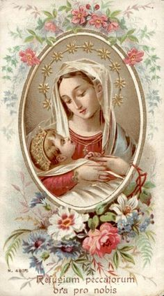 Refugium Peccatorum Ora pro Nobis.  A vintage Italian holy card of Our Lady Refuge of Sinners. This particular image is usually referred to as the Mother of Divine Providence.