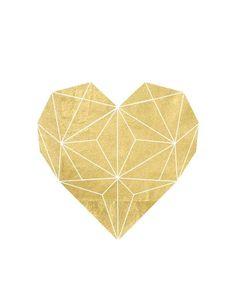 Gold Foil Geometric Heart Printable Graphic—Great for inspiration. Geometric Heart, Geometric Shapes, Bild Gold, Diy Décoration, Grafik Design, Printable Wall Art, Illustration, Gallery Wall, Artsy
