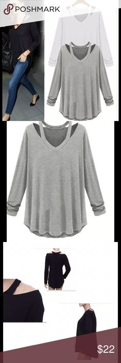 Women's gray off shoulder V Neck top long sleeve Brand new in package GRAY off the shoulder V Neck top long sleeve lg. Bundle and save😄. Buy with confidence I am a top rated seller, fast shipper and mentor.  Thank you.      Shoulder 15 inches approx   Bust 38 inches approx. sleeve length 21 inches approx length 27.5 inches. Tops