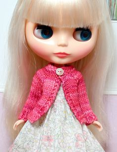 BLYTHE doll hand knit wool cardigan sweater - Sweetheart pink