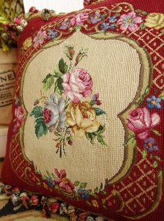 "16"" Vintage Needlepoint Pillow Romantic ROSES | eBay"
