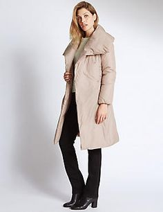 Quilted Duvet Coat from M&S, the picture does this no favours but with its oversized collar and tie waist its a more srtylish duvet coat that's for sure. Winter Puffer Jackets, Coats For Women, Clothes For Women, Black Down, Vest Jacket, Duvet, Favours, Tie, Ebay