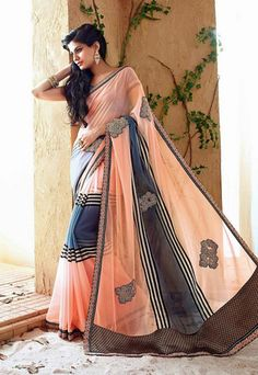 Ruhani Fashion | Products | saree | Beautiful Peach georgette Saree