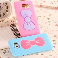 KISSCASE Fashion Girly Women 3D Cartoon Bow Stand Holder Case For Samsung Galaxy S6 G9200 Slim TPU Silicon Cover For Samsung S6(China (Mainland))