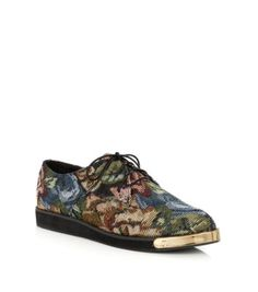 Green Red and Blue Tapestry Metal Tip Lace Up Shoes