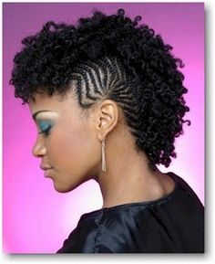 Braided Mohawk with kinky curly hair