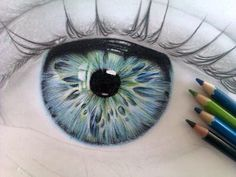 Drawing Eye Blue Green Pencil Colour
