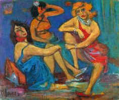 The Three Graces.  Marcel Janco (1895-1994) was a Romanian & Israeli visual artist, architect & art theorist. He was the co-inventor of Dadaism and a leading exponent of Constructivism in E. Europe.Janco was a practitioner of Art Nouveau, Futurism & Expressionism before contributing his painting and stage design to Tzara's literary Dadaism. He parted with Dada in 1919, when he and painter Hans Arp founded a Constructivist circle, Das Neue Leben.