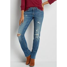 maurices Vigoss Straight Jeans With Frayed Bottom Hem, Women's, ($68) ❤ liked on Polyvore featuring jeans, straight leg jeans, maurices jeans, whiskered jeans, blue jeans and maurices