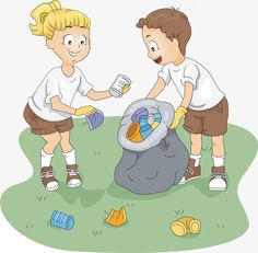 cartoon girl boy picking up trash, Cartoon, Girl, Boy PNG Image