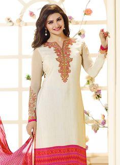 Prachi Desai Satin Georgette Straight Suit