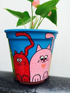 Risultati immagini per manjula macetas Flower Pot Art, Flower Pot Design, Clay Flower Pots, Flower Pot Crafts, Clay Pots, Clay Pot Projects, Clay Pot Crafts, Diy Clay, Flower Pot People