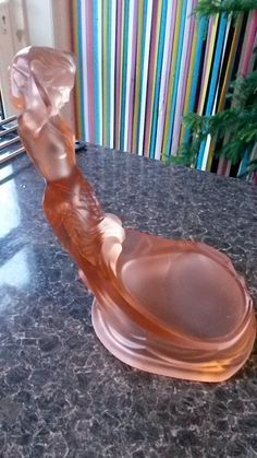 Much Sought After Art Deco Walther Pink Frosted Glass Muschel Figure Base by VintageDecoUK on Etsy https://www.etsy.com/listing/267384663/much-sought-after-art-deco-walther-pink
