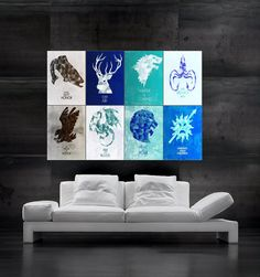 Game of Thrones symbols of houses flags Poster art huge giant wall print 8 parts by SummitPosters on Etsy Game Of Thrones Bedroom, Game Of Thrones 3, Giant Wall Art, Mural Wall Art, Wall Decals, Game Of Trone, Poster Wall, Poster Prints, Decor Pad