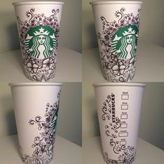 White cup contest by Sydney Toth:) Starbucks Smoothie, Starbucks Coffee Cups, Coffee Cup Art, Starbucks Drinks, Arte Starbucks, Starbucks Cup Drawing, Starbucks Logo, Drawing Cup, Painted Cups