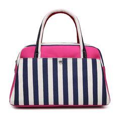 Striped Print Canvas Tote Bag - ROSE MADDER