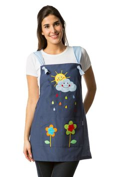 Stole for teacher with a sun and cloud drawing embroidered on the yoke smile . - Stole for teacher with a sun and cloud drawing embroidered on the yoke smiling with colored raindro - Sewing Crafts, Sewing Projects, Teacher Apron, Cute Aprons, Sewing Aprons, Recycle Jeans, Creation Couture, Kitchen Aprons, Refashion