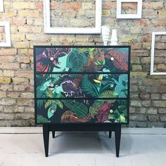 Upcycled vintage retro vanity unit writing desk chest of drawers Harriet Popham decoupage