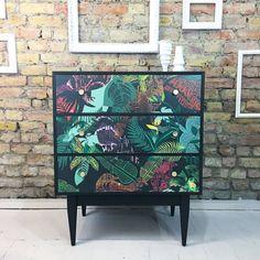 Upcycled vintage retro vanity unit writing desk chest of drawers Harriet Popham decoupage