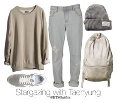 Stargazing with Taehyung by btsoutfits p.s this may look like something a homeless ma would wear but fashion is all about seeing good in the bad (and vice versa) so ACTUALLY this set is rly cute Kpop Fashion Outfits, Korean Outfits, Teen Fashion, Korean Fashion, Casual Outfits, Girl Outfits, Bts Clothing, Bts Inspired Outfits, Aesthetic Clothes