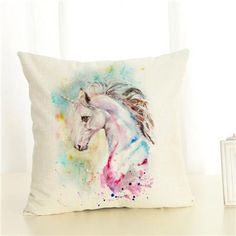 Wild Horse Equine Forest Watercolour Unicorn Cushion Cover UK Seller Next Day