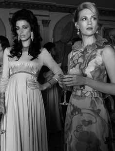 Jessica Paré and January Jones on the set of Mad Men, 2012.