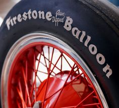 Firestone Balloon tire on red rim Firestone Tires, Rubber Company, Van Car, Black Balloons, Mode Of Transport, Motorcycle Bike, Vintage Racing, Car Parts, Old Cars