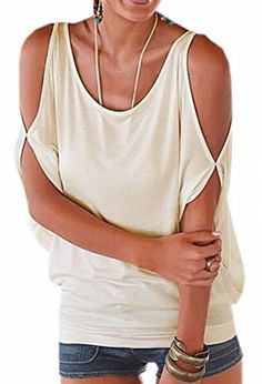 Introducing XQS Womens Casual Loose Cold Shoulder Solid Tunic Top Tshirt white Large. Great Product and follow us to get more updates!