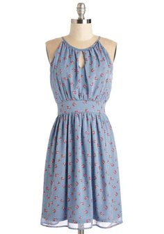 Botanical Blithe Dress - Mid-length, Chiffon, Woven, Blue, Pink, Floral, Print, Daytime Party, A-line, Sleeveless, Spring, Cutout