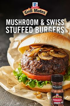 Kick your BBQ up a notch with Mushroom and Swiss Stuffed Burgers! Add sautéed mushrooms, onion, and Swiss cheese to hamburger patties for a new twist on the classic flavor combination. Hamburger Seasoning, Hamburger Recipes, Beef Recipes, Cooking Recipes, Mushroom Swiss Burger, Swiss Chicken, Stuffed Burgers, Hamburger Patties, Swiss Cheese