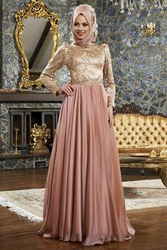 Mevra Gold Pudra Günyeli Abiye Elbise