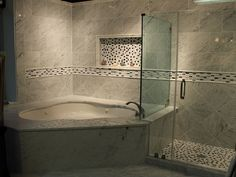 love the idea of a corner jacuzzi tub for the relaxing days with a stand up