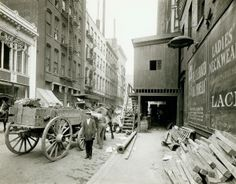 Construction work on St. Charles Street east of Seventh Street. (1900) Missouri History Museum