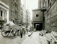 Construction work on St. Charles Street east of Seventh Street. (1900) Missouri History Museum