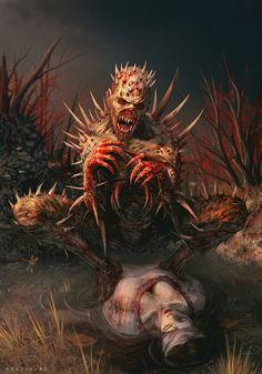 Horror Blood Guts n Gore Dark Fantasy, Fantasy World, Fantasy Art, Creepy Pictures, Creature Concept, Angels And Demons, Monster Art, Deviant Art, Gothic Art
