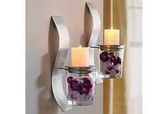 PartyLite Clearly Creative Sconce Set (Lets you put whatever you want in the glass cups to go with the season/decor)